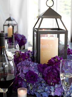 Lanterns, candles and purple flowers! :)