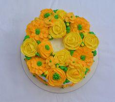 wreath of buttercream flowers
