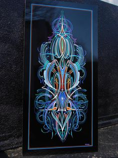 Pinstripe panel by Zeke via the pinhead lounge. Car Pinstriping, Pinstriping Designs, Paint Stripes, Stripes Design, Pinstripe Art, Baggers, Airbrush Art, Lost Art, Panel Art