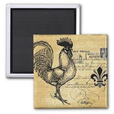 Vintage French Rooster On Burlap