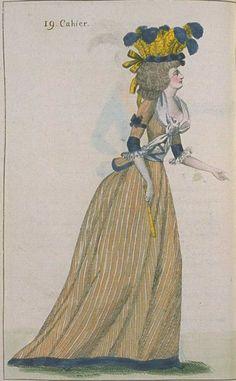Journal de la Mode et du Gout, August 1790. Orange and blue again! Love those…