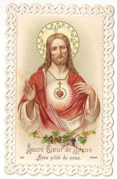 Sacred Heart Jesus Antique French Catholic Paper Lace Holy Prayer Card Vintage Holy Cards, Vintage Paper, Mary Tattoo, Beautiful Prayers, Heart Of Jesus, Paper Lace, Prayer Cards, King Of Kings, Indian Gods