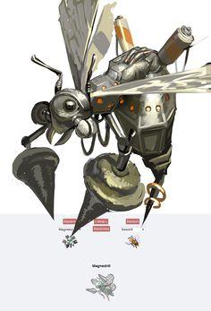 Pokemon fusion (Magneton + Beedrill) fanart by pornjunkyard    http://pornjunkyard.tumblr.com/post/51370415161/tried-that-pokemon-fusion-thing