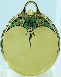 18k yellow gold Deco style Doxa pocket watch, Swiss made, circa 1930's, white dial with painted black Breguet numerals. Rare oval shaped, key less gentleman's dress watch. Fine green and black enamel work. The approximate diameter is 41.8mm and 53.2mm with the bow
