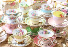 Mixed Pastel & Florals Vintage Bone China Cup & Saucer Sets