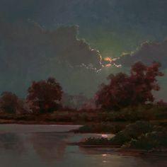 Refuge Moon by Richard Lindenberg Oil ~ 12 x 12