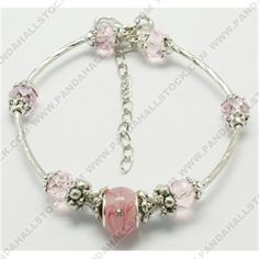 Lampwork European Style Bracelets, with Faceted Glass Beads, Silver Color Tibetan Style Caps and Nickel Free Curved Tube Beads, Pink