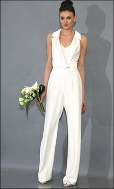 """Wedding Suits Skinny Women Wedding Dress - to get the inspiration about skinny women wedding dress then we are here to help you. So Checkout Beautiful Skinny Women Wedding Dress Ideas For You"""" Bridal Pants, Wedding Jumpsuit, Bridal Pant Suits, Wedding Pantsuit, Wedding Gowns, Wedding Ceremony, Tomboy Wedding Dress, Jumpsuit Elegante, Formal Pant Suits"""