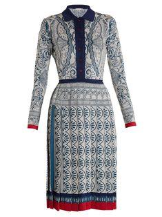 Click here to buy Mary Katrantzou Briscola long-sleeved Cards-intarsia dress at MATCHESFASHION.COM