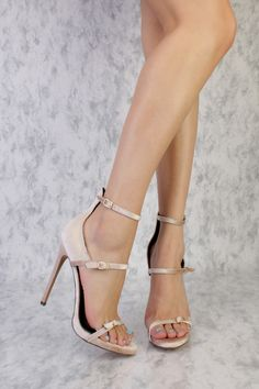 Nude Open Toe Strappy High Polish Buckle Detailing Single Sole High Heel Velvet