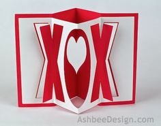AshbeeDesign.com Accordion XOX Valentine DIY with or without a Silhouette cutting machine