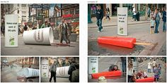 10 Awesome Examples of Guerrilla Marketing Campaigns: http://www.business2community.com/marketing/10-awesome-examples-of-guerrilla-marketing-campaigns-0338587#XqAEBpdS08R3R5Fq.99