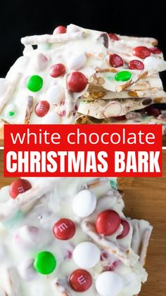 White Chocolate Christmas Bark is a no bake Christmas dessert that takes minutes to make. Mini M Christmas Bark, Christmas Chocolate, Christmas Desserts, Chocolate Bark, White Chocolate, Mini M&ms, Party Desserts, Easy Dinner Recipes, Happy Holidays