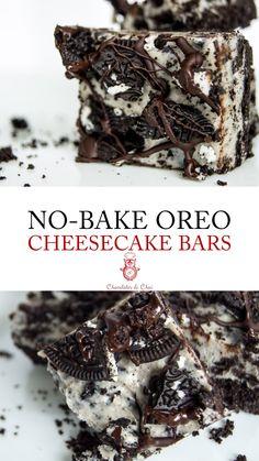 No Bake Oreo Cheesecake Bars - Chocolates & Chai Gourmet Recipes, Sweet Recipes, Baking Recipes, Cookie Recipes, Dinner Recipes, No Bake Oreo Cheesecake, Cheesecake Recipes, Chocolate Cheesecake, Cheesecake Bites