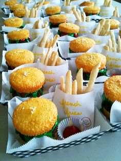 burger cupcakes (Cupcake buns, brownie patties, frosting lettuce and ketchup. Sugar cookie fries.)