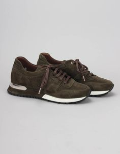 These khaki/green Almorah trainers have perforated and plain suede panelled uppers with brown lace up fronts, metal D rings to the back of the shoes and suede finished soles. Khaki Green, Airport Style, Converse, Footwear, Lace Up, Brown, Sneakers, Woman
