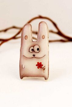 Free shipping Happy Easter bunny Animal pin animal by Dinabijushop #Easter #spring #gift