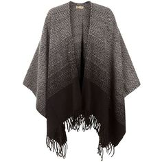 Cameo Rose Black Ombre Fringed Blanket Wrap (36 CAD) ❤ liked on Polyvore featuring accessories, scarves, wrap scarves, black fringed shawl, black wrap shawl, wrap shawl and fringe scarves