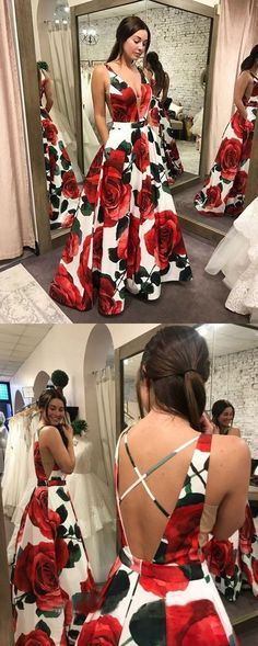 elegant deep v-neck printed prom dress with pockets, fashion a-line floral party dress with pockets, beautiful evening dress with sweep train