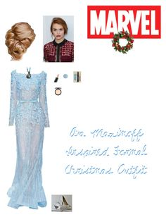 """""""Ava Maximoff Inspired Formal Christmas Outfit"""" by nerdbucket ❤ liked on Polyvore featuring Elie Saab, NYX, Terre Mère, Lancôme, MAC Cosmetics and Improvements"""