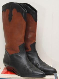 Vintage Two Tone Boots/ 85 by VintageFashionUSA on Etsy