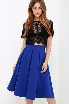 Pleats, Oh Please Royal Blue Midi Skirt at Lulus.com!