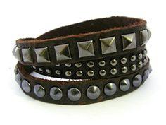 APECTO Jewelry Quality Rock Dark Chocolate Leather Wristb...