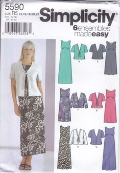 New Sewing Pattern to make a Summer Dress Middy Jacket Easy to Sew Simplicity Pattern 5590 UNCUT  Misses Women's Size 14 16 18 20 22 by LanetzLiving on Etsy