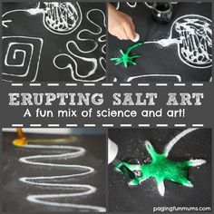 FUN Erupting Salt Art - your kids will love watching the paint magically spread across the salt while FIZZING! sensory art activity