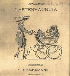Finnish commercial from famous store Stockmann. Vintage Pram, Vintage Ads, Vintage Posters, Helsinki, Ancient History, Art History, Famous Store, Old Commercials, School Design