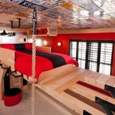 """The """"Action Jackson"""" bedroom is the stuff of dreams for little boys. I can only imagine the bones that would be broken in this room"""