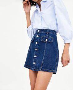 jupe en jeans taille haute ZARA