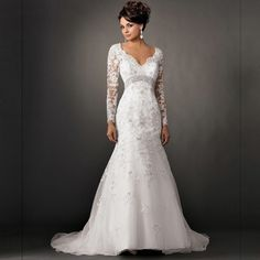 Find More Wedding Dresses Information about 2016 New Arrival Vintage V neck Sexy Backless Bridal Dresses vestido de noiva Cheap Long Sleeve Lace Mermaid Wedding Dresses,High Quality dress pleated,China dresses leggings Suppliers, Cheap dresses dress from Kaka Dresses on Aliexpress.com
