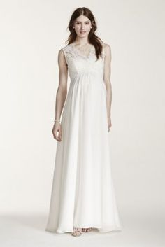 Style meets comfort in this elegant and sleek lace applique maternity gown!  Sleeveless bodice features alluring V-neckline and illusion tank straps with beautiful lace applique detailing.  Empire waist, A-line silhouette is flattering on every figure.  Long, soft chiffon skirt provides ultimate comfort on your special day!  Sizes S-XL. Available in Ivory.  Fully lined. Imported polyester. Back zipper. Dry clean only. To preserve your wedding dreams, try our Wedding Gown Preservation Kit.