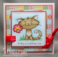Primrose Kitty Mother's Day Card-2 Cute Ink Digital Stamps Challenge Blog