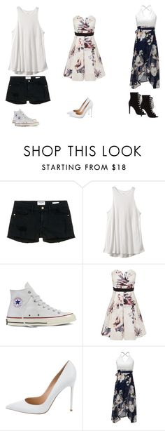 """""""Summer's here"""" by dchampionphelps-1 ❤ liked on Polyvore featuring Frame Denim, RVCA, Converse, Little Mistress and Gianvito Rossi"""