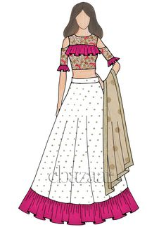 Buy Off White Embroidered Art Silk Flared Style Lehenga online, SKU Code: This White color Party umbrella lehenga for Women comes with Sequins Net . Dress Design Sketches, Fashion Design Sketchbook, Fashion Design Drawings, Fashion Sketches, Fashion Illustration Tutorial, Dress Illustration, Fashion Illustration Dresses, Fashion Vocabulary, Dress Drawing