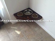 Floating Dog Bowls. Raised Dog Bowls. Wall by CustomCarverWoodWork