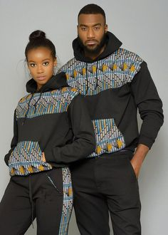 Folami Unisex African Print Hooded Sweatshirt (Blue/Orange Triangles) by Couples African Outfits, Couple Outfits, African Attire, African Wear, African Dress, African Style, African Women, African Fashion Designers, African Inspired Fashion