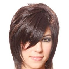 Medium Straight Alternative Hairstyle with Side Swept Bangs Chocolate Hair Colo. Medium Straight A Easy Hairstyles For Medium Hair, Haircuts For Fine Hair, Medium Hair Cuts, Short Hair Cuts, Medium Hair Styles, Cool Hairstyles, Short Hair Styles, Short Bangs, Alternative Hair