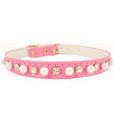Crystal Puppy Collars Simple 1 Row Pearl & Australian Rhinestone Pink