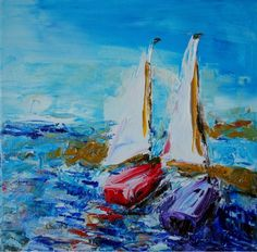 SALE Docked12x12 Original Abstract Impressionism by larainy