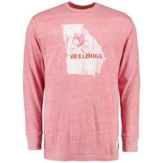 Georgia Bulldogs Original Retro Brand Vintage Long Sleeve Tri-Blend T-Shirt - Heathered Red - $30.39