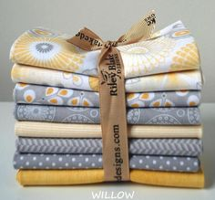 WILLOW Fat Quarter Bundle of 8 Yellow & Gray Quilt Fabric by Riley Blake #RileyBlake