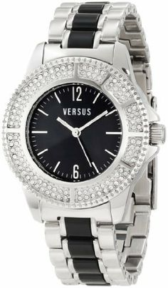 Versus by Versace Women's 3C64200000 Tokyo Stainless Steel Black Dial Crystal Bracelet Watch Versus By Versace. $300.00. Black dial with silver hour markers. Luminous hands; second-hand feature. Crystals on bezel ring. Water-resistant to 30 M (99 feet). Polished stainless steel bracelet with black inserts