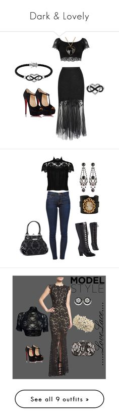 """Dark & Lovely"" by latinavixn ❤ liked on Polyvore featuring WithChic, Miss Selfridge, Jewel Exclusive, Christian Louboutin, Moschino, Frame Denim, Alice + Olivia, But Another Innocent Tale, Rock Rebel and Givenchy"