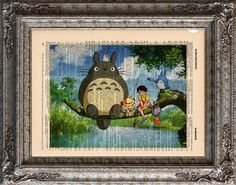 New to EcoCycled on Etsy: Totoro and Friends Fishing on Vintage Upcycled Dictionary Art Print Book Art Print Recycled Studio Ghibli (10.00 USD)