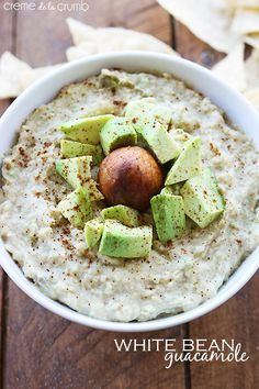 A creamy white bean and avocado dip - healthier than traditional guacamole and twice as delicious! I don't even like guacamole and this was good! Appetizer Recipes, Appetizers, Whole Food Recipes, Cooking Recipes, Healthy Snacks, Healthy Eating, Clean Eating, Vegetarian Recipes, Healthy Recipes