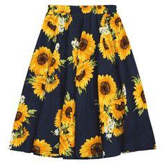 Sunflower Print High Waist Skirt ($16) ❤ liked on Polyvore featuring skirts, flower print skirt, floral skirts, floral print skirt, high-waisted skirts and floral knee length skirt