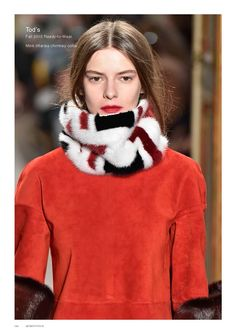Tod's Fall 2015 RTW Suede with mink intarsia chimney collar and solid color mink cuffs.